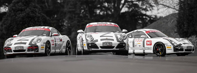 The three Porsche Caymans which will be flying the Continental Cars' Porsche flag in the 20th anniversary Targa South Island event later this month. Photo credit: Continental Cars