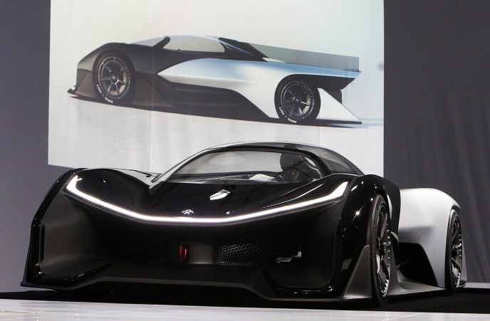 Faraday Future FFZERO1 Concept vehicle at FF's pre-CES reveal event in Las Vegas on Monday, Jan. 4, 2016. (Bizuayehu Tesfaye/ AP Images for Faraday Future)